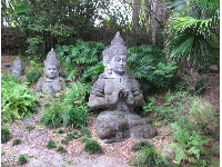 Sculptures in the forest in the Asia area.