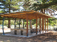 Shaded BBQ area.