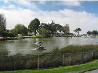 Paddle boats on Lake El Estero- the ocean can be seen in the distance.