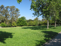 Lawns spread out on all three sides of you at Santa Rosa Park!