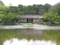 View of the museum building across the lake.