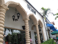 The exotic architecture at Addison Place Shopping Plaza, across Jog Rd from the gardens.