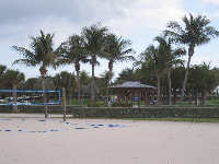 The sand volleyball courts.
