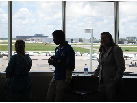 Looking out on the little planes that students use to learn to fly!
