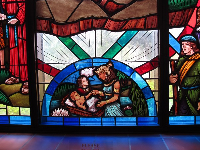Stained glass: story of Moses.