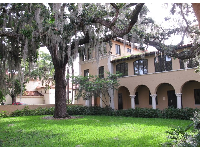 Oak with Spanish moss; arches and white columns.