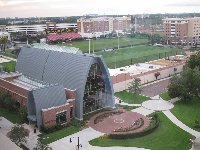 View of Sykes Chapel and the impressive sports fields from the top floor of Vaughn Center.
