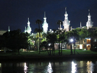 Minarets at University of Tampa, as seen from Curtis Hixon Park at night.