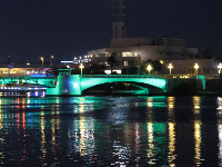 Green lighting on the Kennedy Blvd bridge as seen from the riverfront in Downtown Tampa.
