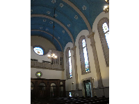 The peaceful blue interior of Memorial Presbyterian Church.