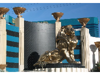 The golden lion outside the MGM Grand Resort on The Strip.