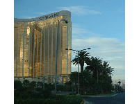 The shimmering gold exterior of the Mandalay Bay Resort.