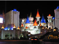 Night-time on The Strip: the Excalibur Resort's castle towers all lit up!