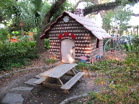 Stepping stone path to little gingerbread house.
