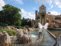 The splash at the end of the Journey to Atlantis ride.
