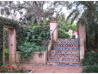 Spanish tiles on the stairway to the house entrance.