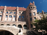 Outside the Grand Gallery, the south side of the museum has a castle-like exterior!