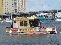Waterway Grille, a floating cafe serving those who want to drink liquor- drinking is not allowed on the island.
