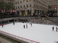 See the stairs that lead down to the ice rink.