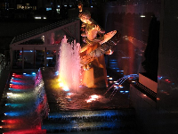 The wonderful fountain lit up at night.